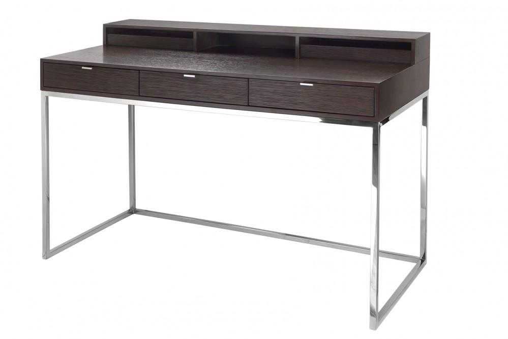 Sekret r eiche braun schreibtisch braun verchromt tisch for Schreibtisch eiche modern
