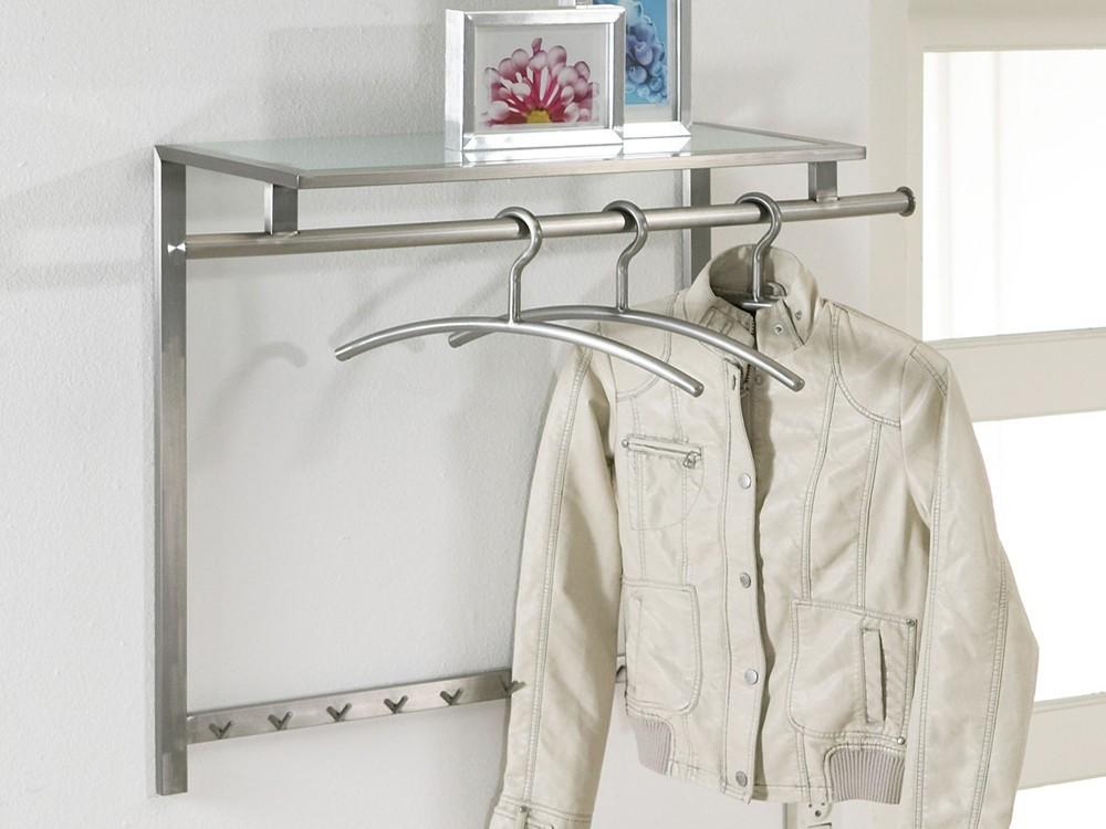wandgarderobe aus edelstahl und ablage aus glas garderobe. Black Bedroom Furniture Sets. Home Design Ideas