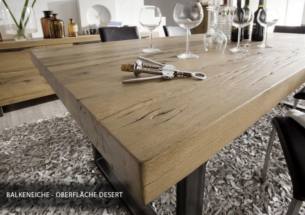 esstisch eiche tischplatte tisch massiveiche industriedesign gestell aus metall ma e 200 x 100 cm. Black Bedroom Furniture Sets. Home Design Ideas