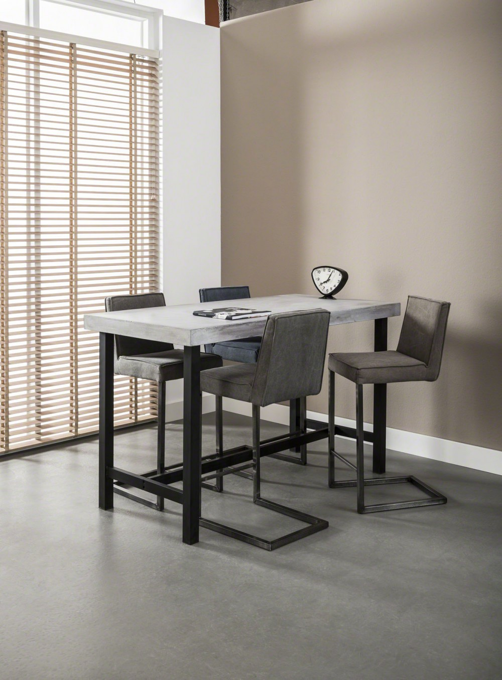 bartisch metall naturstein tischplatte bartisch grau. Black Bedroom Furniture Sets. Home Design Ideas