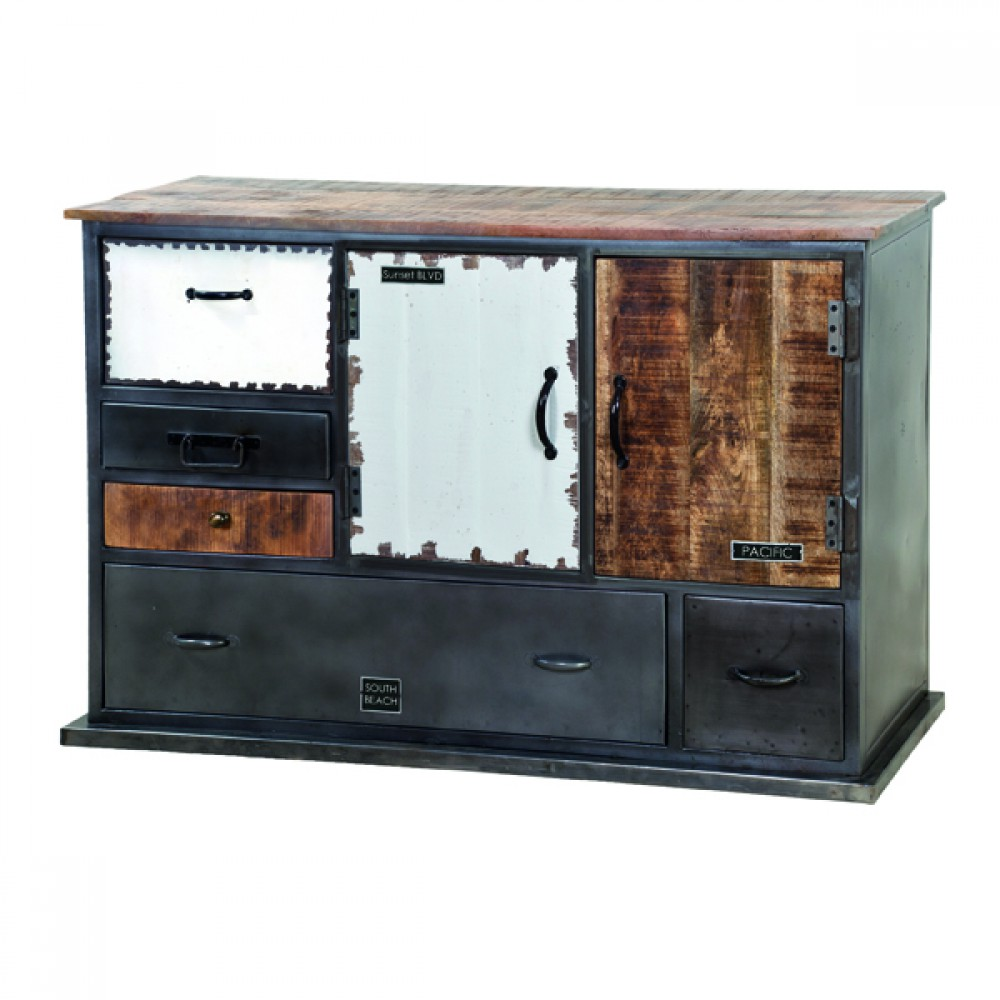 sideboard kommode im industriedesign schrank aus metall breite 125 cm. Black Bedroom Furniture Sets. Home Design Ideas