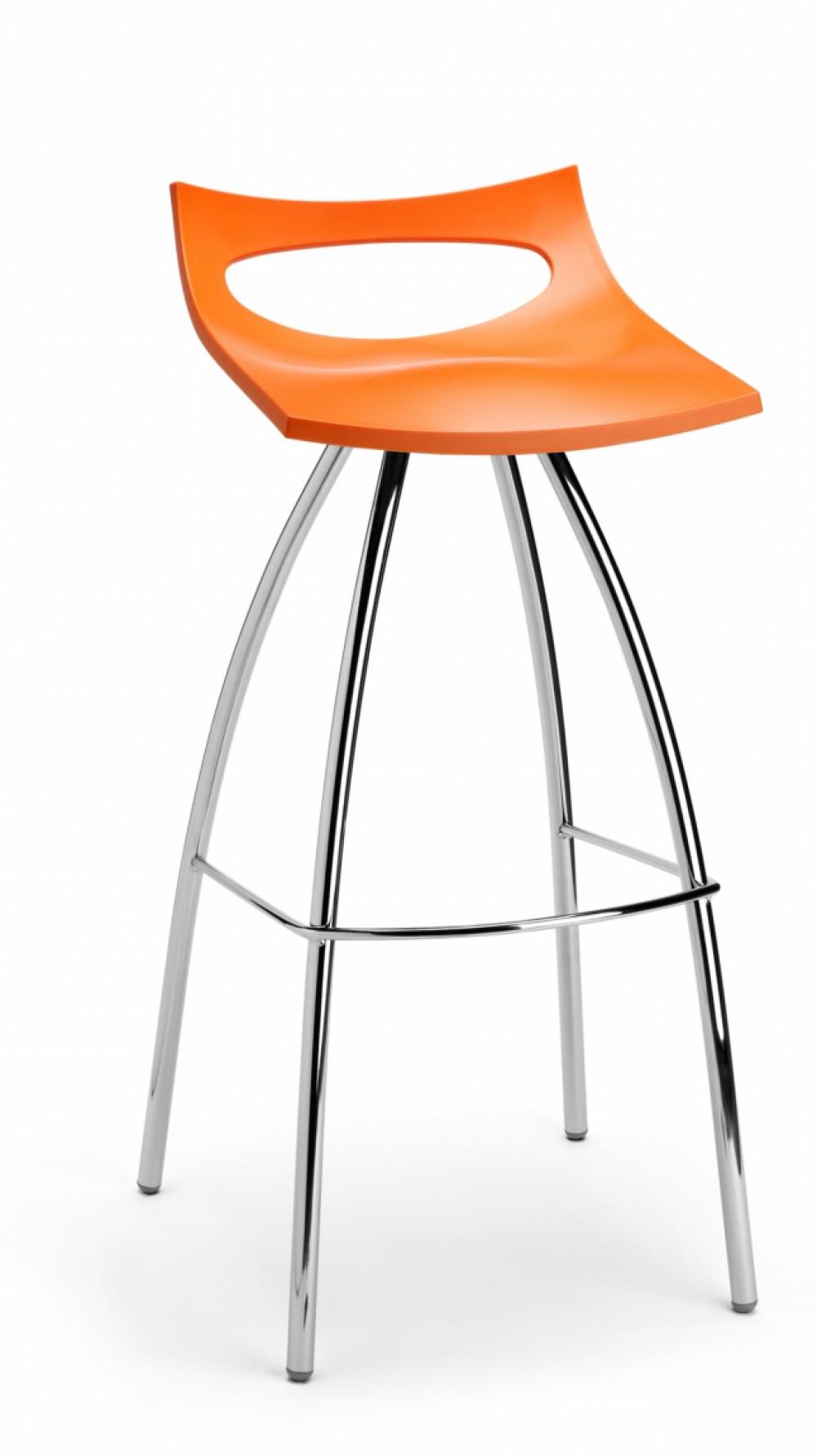 Barhocker orange verchromtes gestell barstuhl orange for Barhocker orange