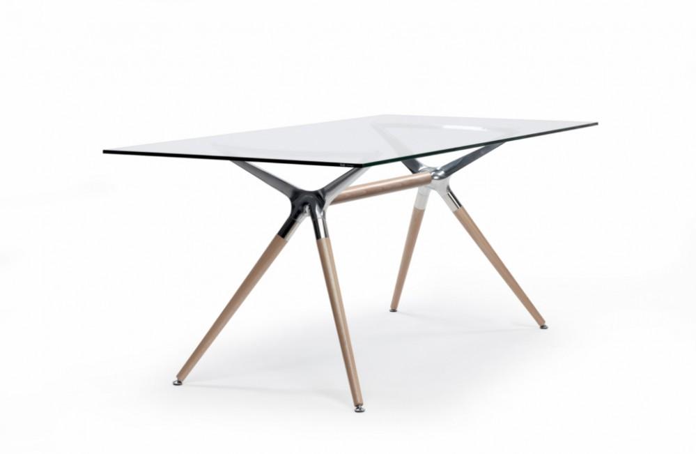 Design tisch holz metall  Design Tisch Holz Buche Metall 3 verschiedene Größen modern