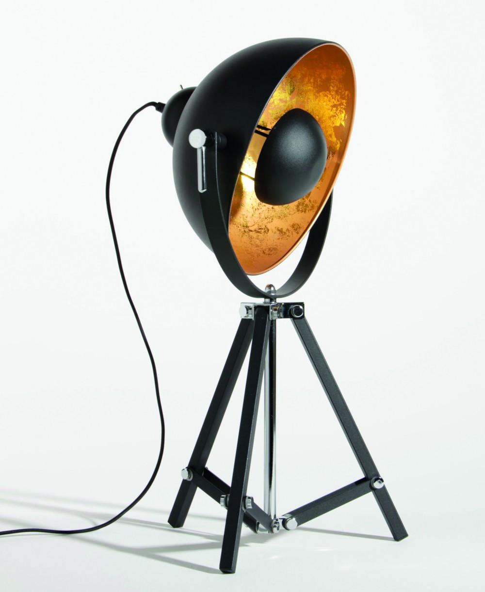 tischleuchte stehleuchte dreifuss farbe schwarz gold 35 cm. Black Bedroom Furniture Sets. Home Design Ideas