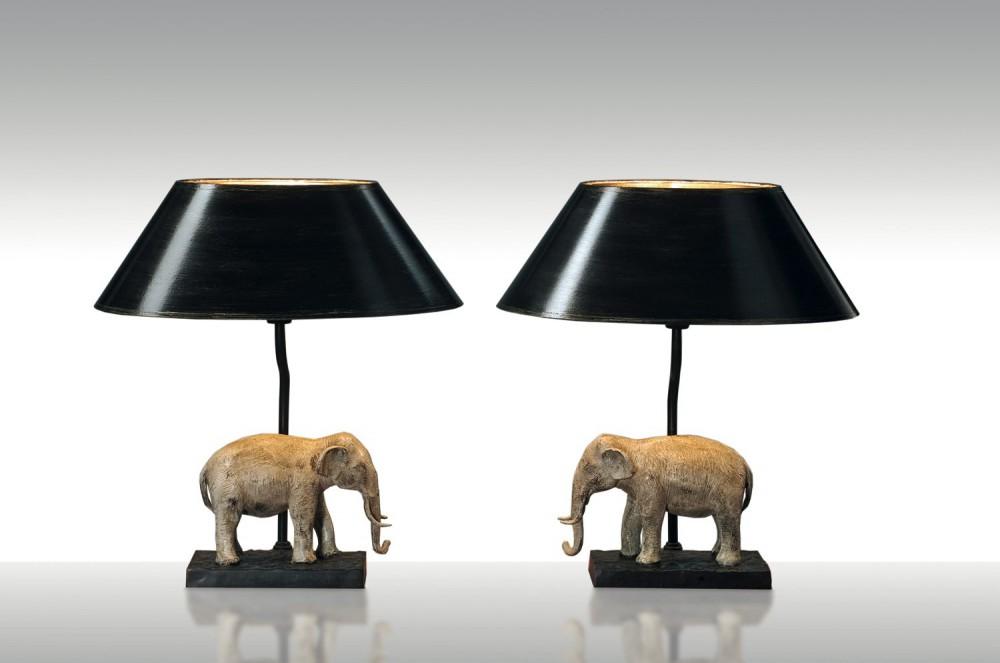 tischleuchte elefant links klassisch farbe bronzeguss handbemalt schirm schwarz gold. Black Bedroom Furniture Sets. Home Design Ideas