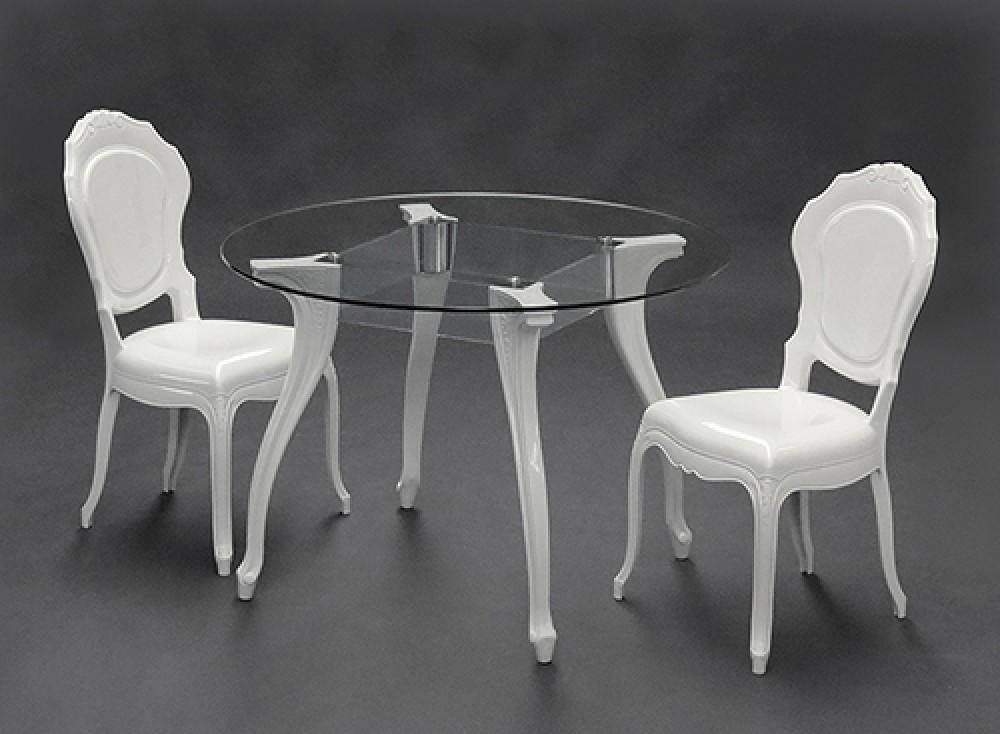 Tisch Rund Glas,, Esstisch Rund Barock Weiß, Tisch Tischplatte Glas,  Durchmesser 110 Cm
