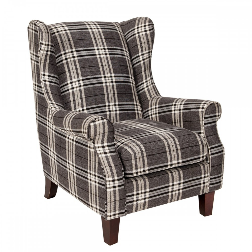 ohrensessel grau wei sessel landhaus ohrensessel kariert grau wei. Black Bedroom Furniture Sets. Home Design Ideas