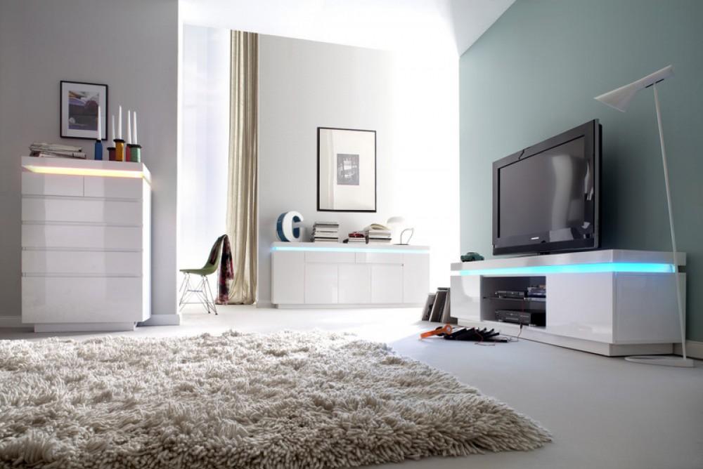 lowboard wei hochglanz lackiert moderner tv schrank mit led beleuchtung breite 175 cm. Black Bedroom Furniture Sets. Home Design Ideas