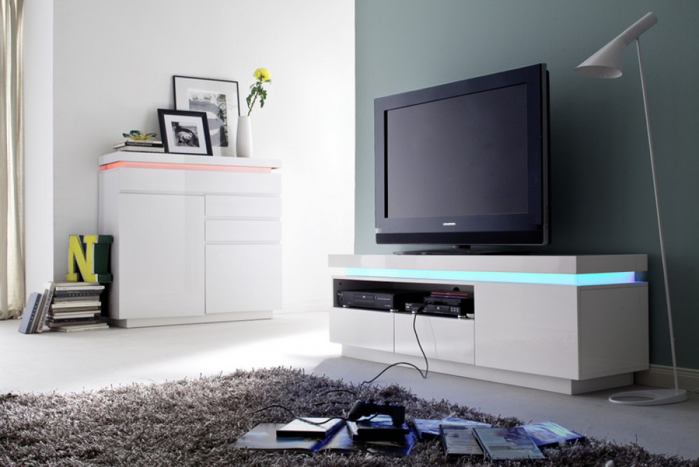 tv lowboard wei hochglanz lackiert moderner tv schrank mit led beleuchtung breite 150 cm. Black Bedroom Furniture Sets. Home Design Ideas