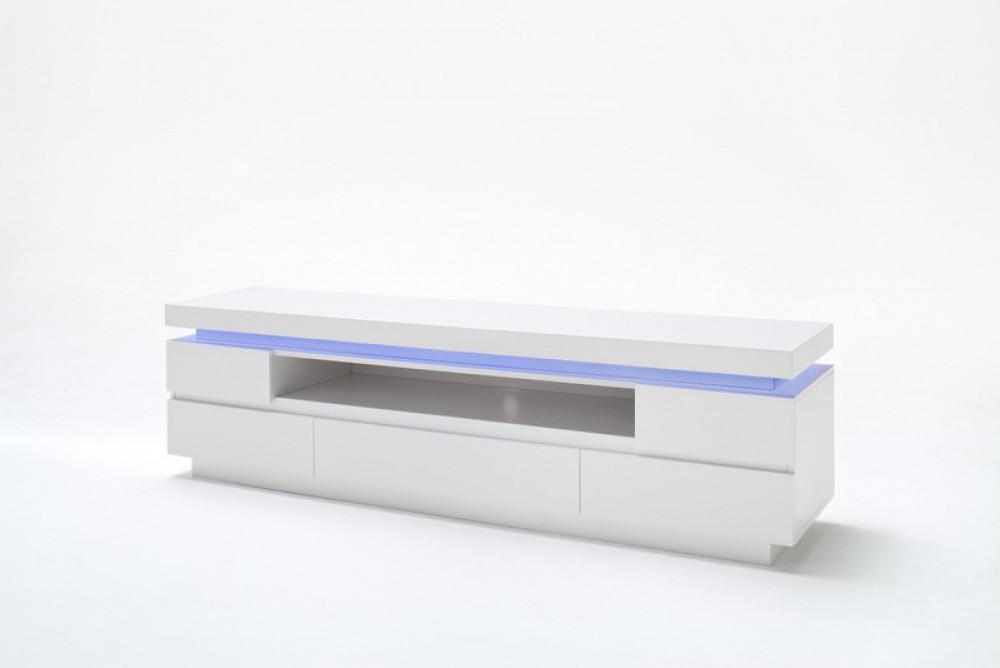 Tv schrank weiß hochglanz  TV Lowboard Weiß Hochglanz lackiert, Moderner TV Schrank mit LED ...