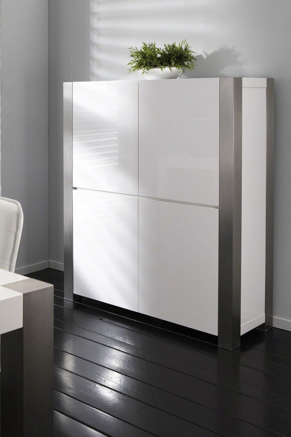 schrank wei hochglanz mit vier t ren h he 140 cm. Black Bedroom Furniture Sets. Home Design Ideas