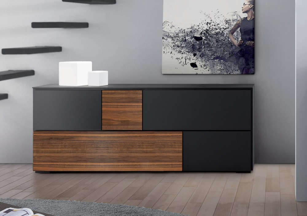sideboard schwarz walnuss anrichte mit f nf t ren 220 cm. Black Bedroom Furniture Sets. Home Design Ideas