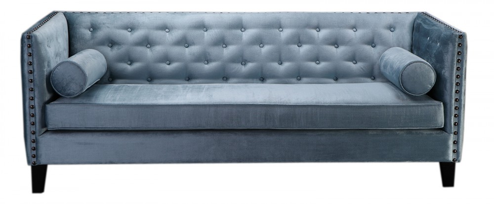 sofa gekn pft chesterfield sofa 3er sitzer sofa blau grau klassisch. Black Bedroom Furniture Sets. Home Design Ideas