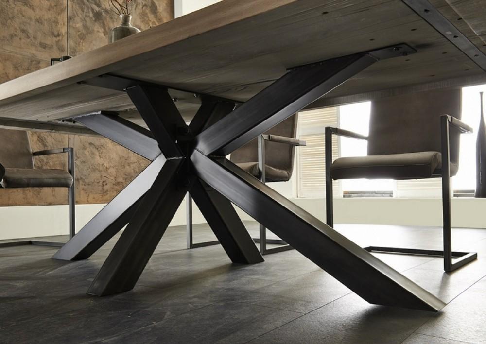esstisch eiche tischplatte industriedesign tisch massiv eiche gestell metall ma e 240 x 100 cm. Black Bedroom Furniture Sets. Home Design Ideas