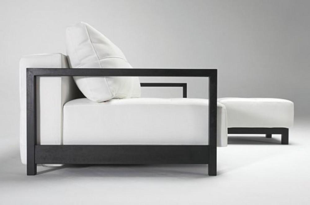 design schlafsofa aus holz und kunstleder in farbe wei. Black Bedroom Furniture Sets. Home Design Ideas