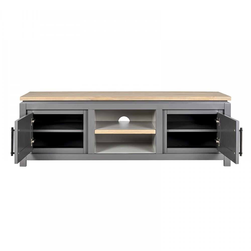 tv schrank grau massivholz lowboard grau im landhausstil. Black Bedroom Furniture Sets. Home Design Ideas