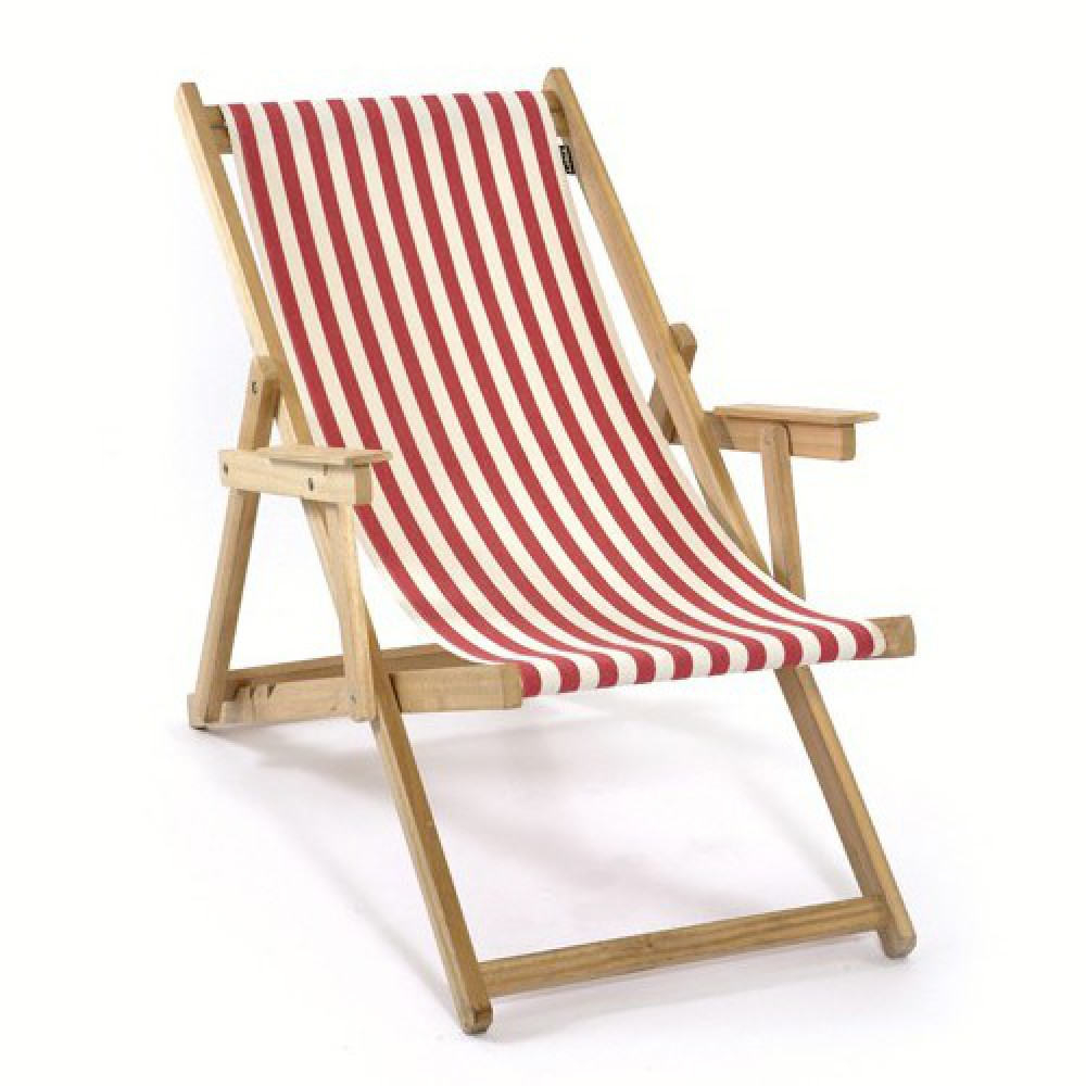 liegestuhl mit nackenkissen aus massivholz und 100 baumwolle strandstuhl gestreift rot wei. Black Bedroom Furniture Sets. Home Design Ideas