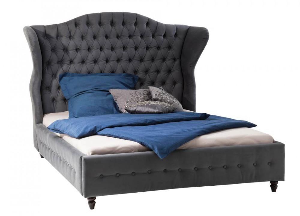 bett gepolstert grau barock bett grau ma e 200 x 160 cm. Black Bedroom Furniture Sets. Home Design Ideas