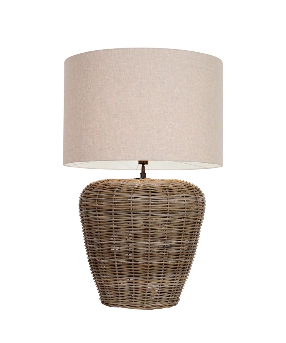 tischlampe rattan tischleuchte rattan mit lampenschirm durchmesser 56 65 cm. Black Bedroom Furniture Sets. Home Design Ideas