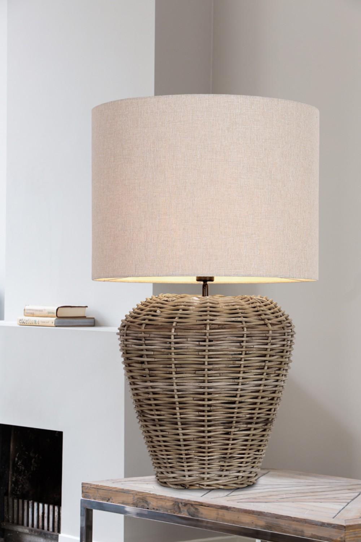 tischlampe rattan tischleuchte rattan mit lampenschirm durchmesser 35 cm. Black Bedroom Furniture Sets. Home Design Ideas