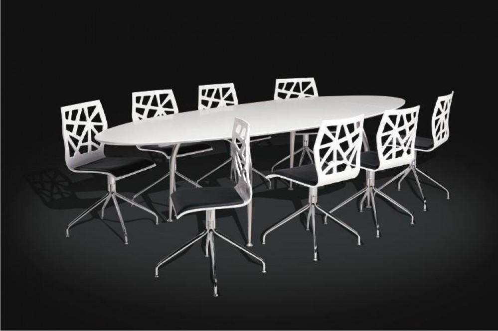 moderner ovaler esstisch meetingtisch wei konferenztisch oval wei. Black Bedroom Furniture Sets. Home Design Ideas