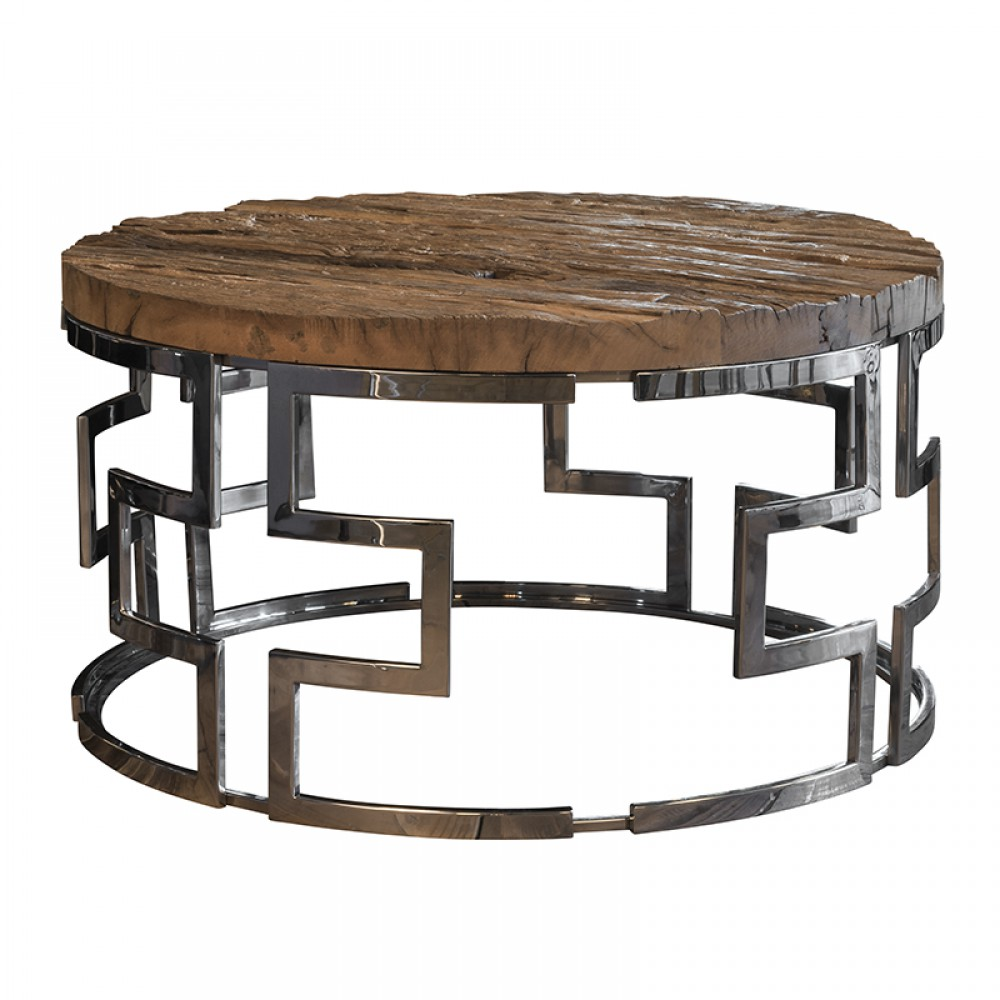 Sympathisch Couchtisch Rund Holz Dekoration Von Holz-metall Verchromt, Runder Braun, Durchmesser 84 Cm
