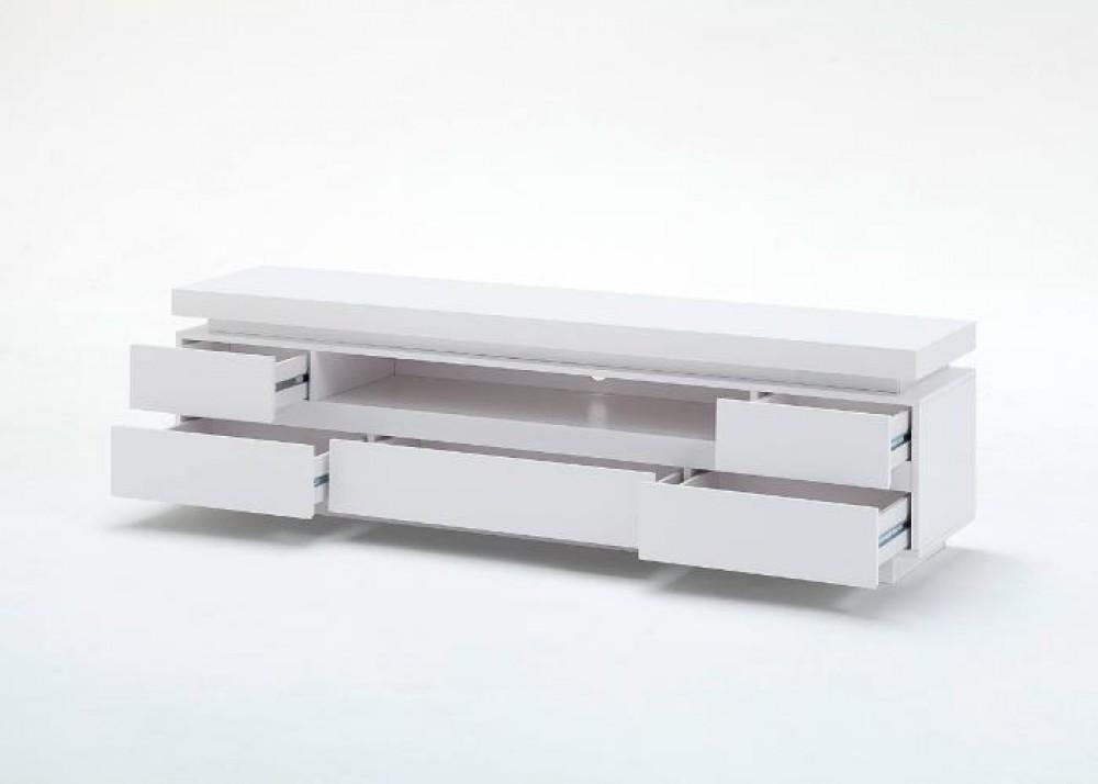 tv lowboard wei hochglanz lackiert moderner tv schrank mit led beleuchtung breite 175 cm. Black Bedroom Furniture Sets. Home Design Ideas