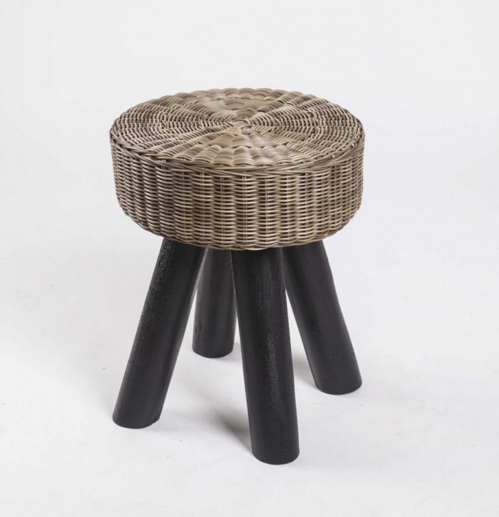 hocker aus massivholz und kunststoff rattan farbe braun schwarz sitzh he 44 cm. Black Bedroom Furniture Sets. Home Design Ideas