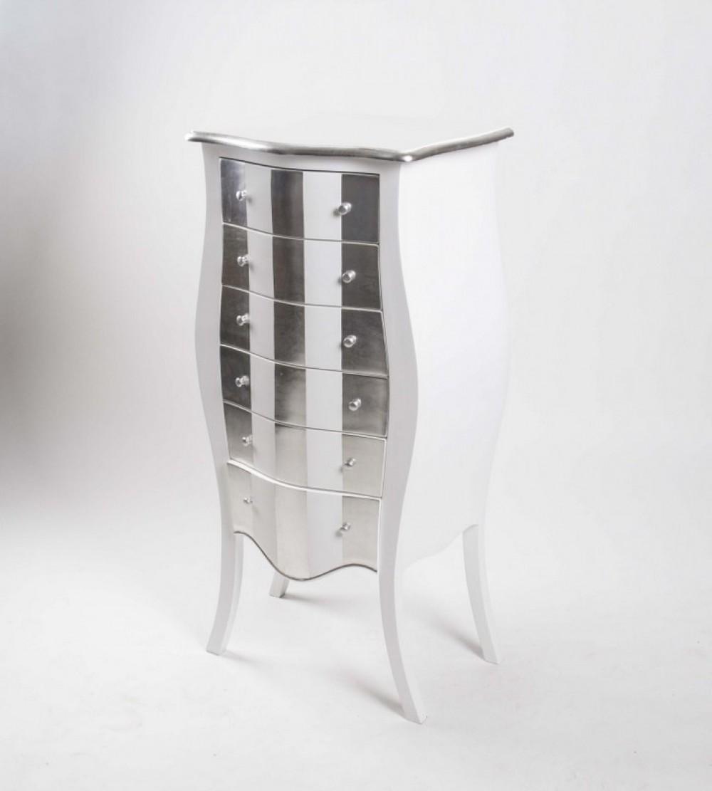 kommode aus mahagoniholz in wei silber im barock style. Black Bedroom Furniture Sets. Home Design Ideas