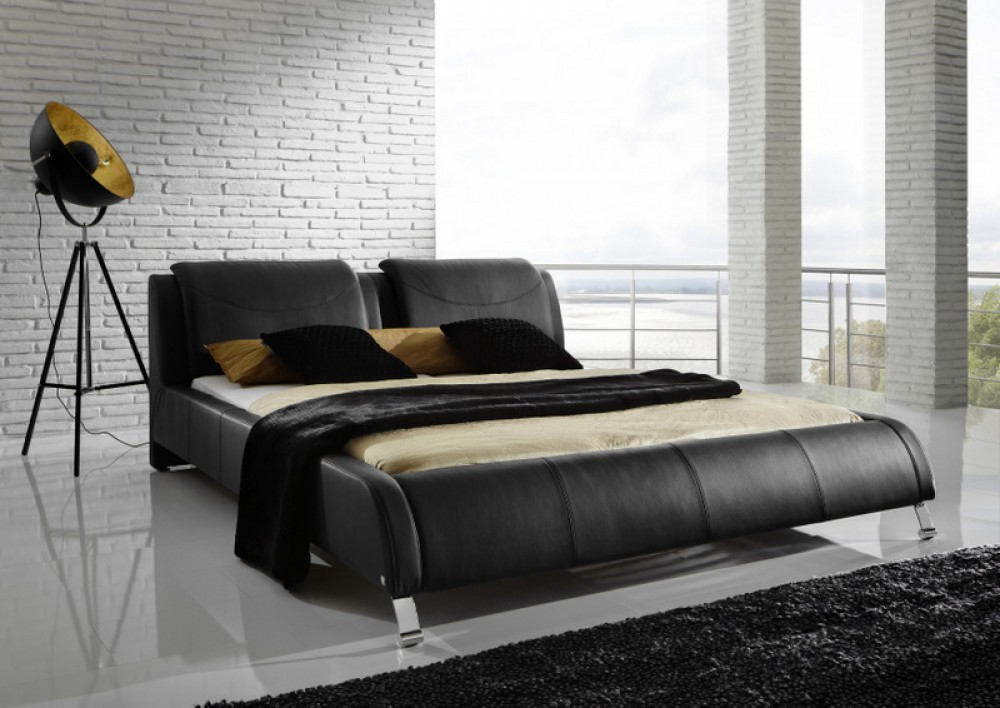 Polsterbett, Echtes Leder, schwarz, gepolstertes Bett, Breite 180 cm