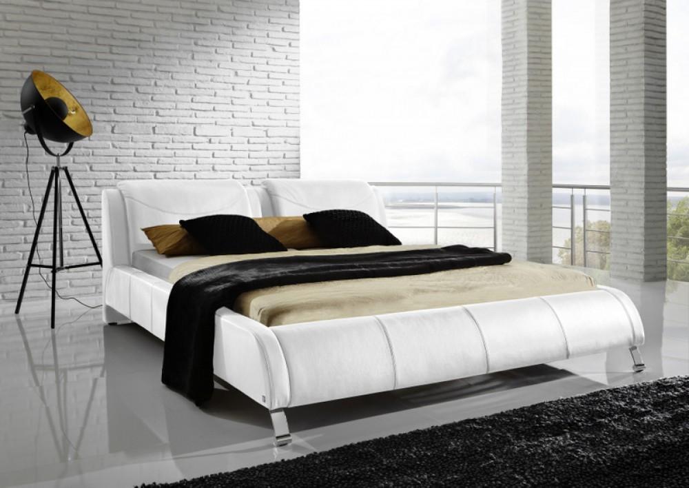 Polsterbett, Echtes Leder, weiß, gepolstertes Bett, Breite 180 cm ...