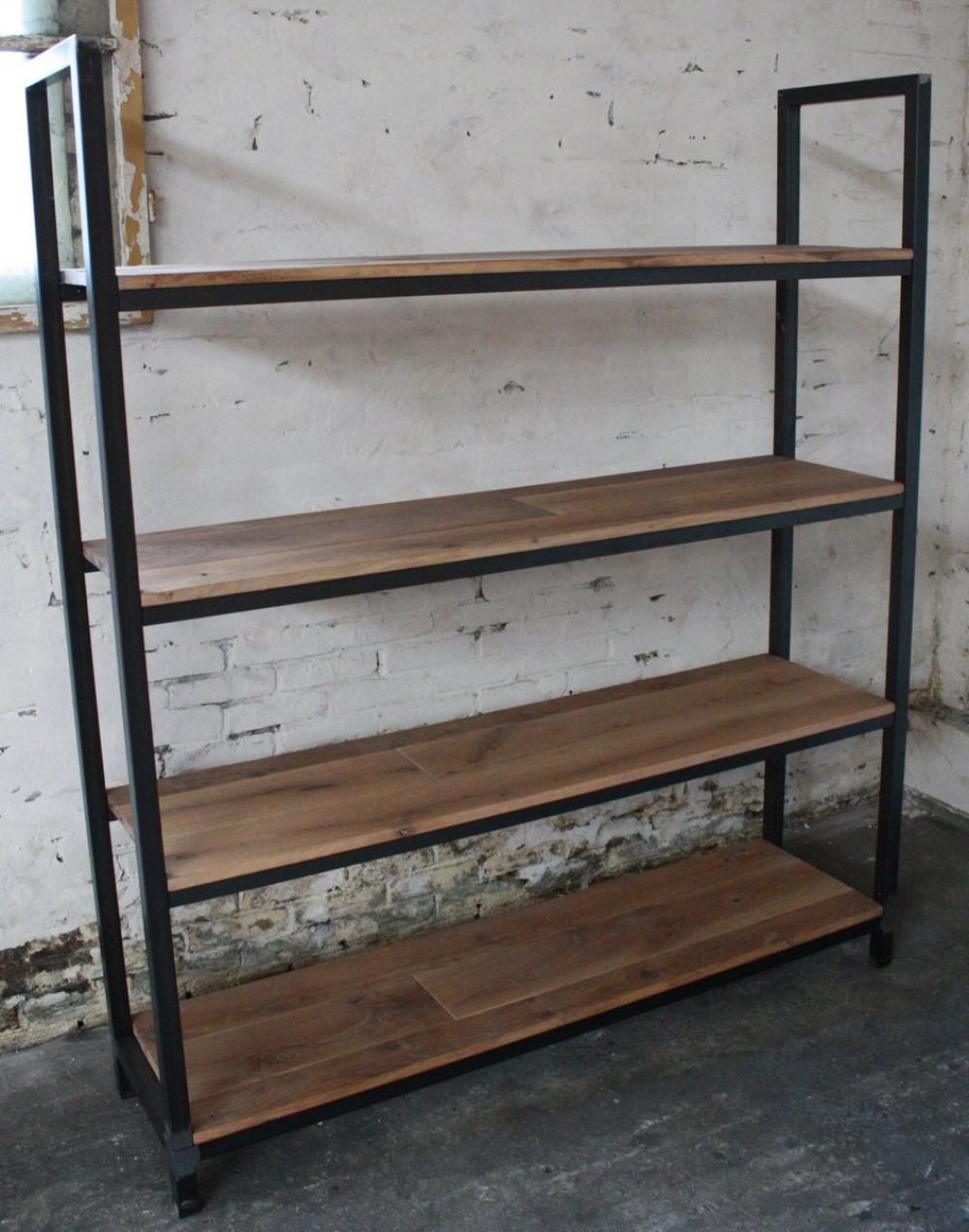 b cherregal aus eichenholz stahl schwarz. Black Bedroom Furniture Sets. Home Design Ideas