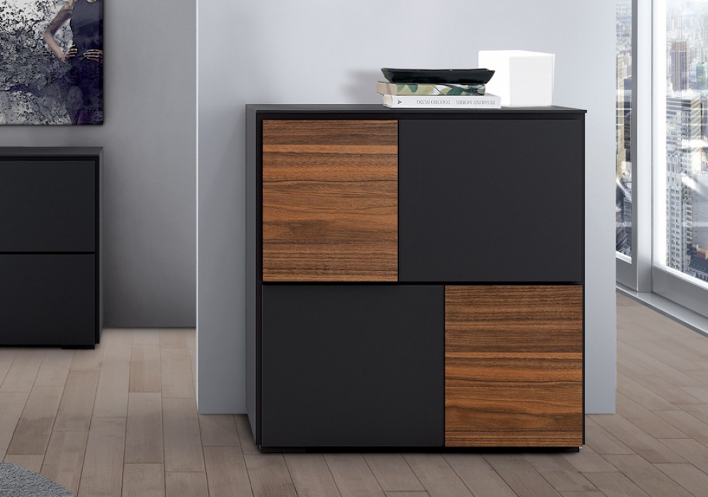 highboard anthrazit walnuss mit vier t ren schrank wohnzimmerschrank 105 cm. Black Bedroom Furniture Sets. Home Design Ideas