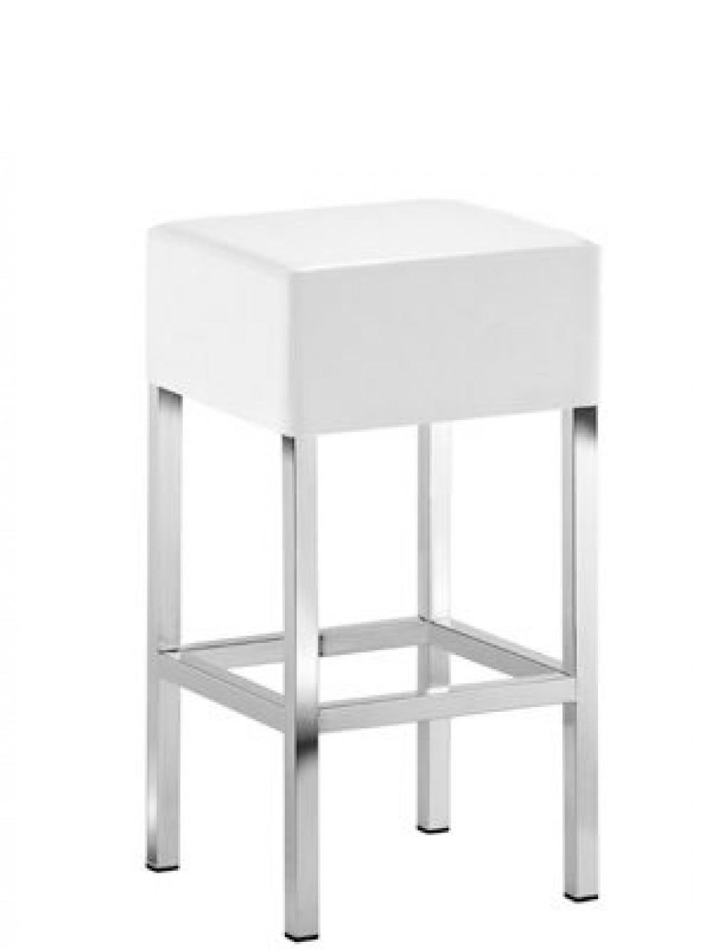 design barhocker mit verchromten gestell tresenhocker gepolstert wei sitzh he 65 cm. Black Bedroom Furniture Sets. Home Design Ideas