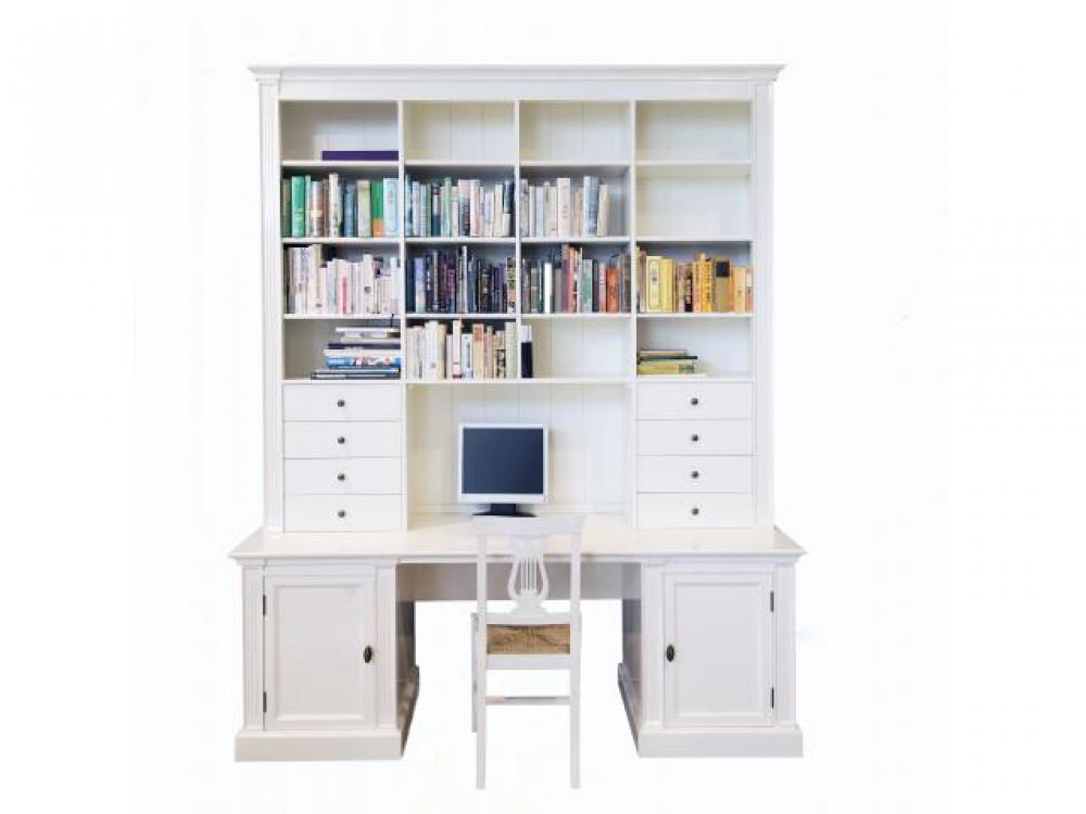 Bücherregal wand landhausstil  Bücherschrank mit Schreibtisch weiß im Landhausstil , Bücherregal ...