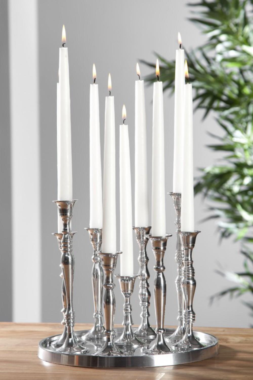 kerzenst nder silber 9 armig kerzenhalter aus aluminium. Black Bedroom Furniture Sets. Home Design Ideas