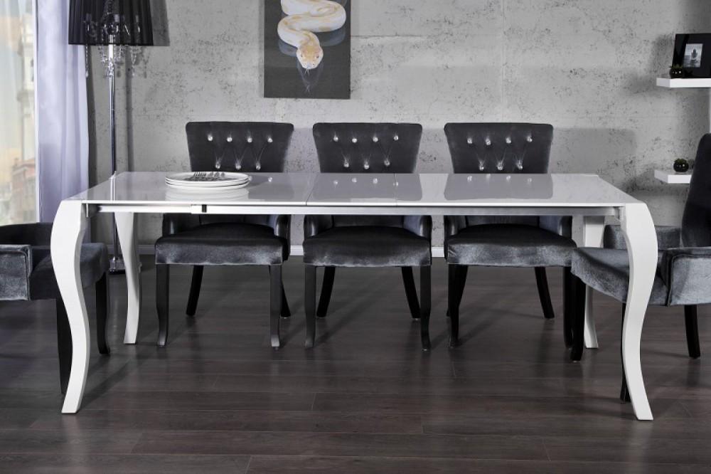 esstisch barock ausziehbar tisch aus schichtholz wei lackiert l nge 170 230 cm. Black Bedroom Furniture Sets. Home Design Ideas