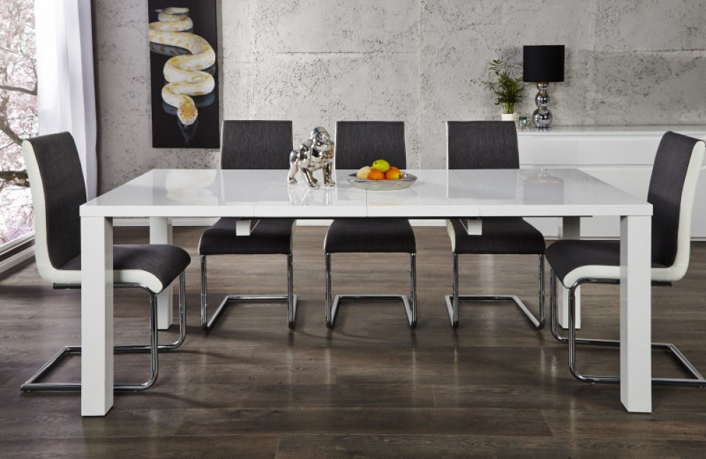 esstisch wei hochglanz tisch wei l nge 120 200 cm. Black Bedroom Furniture Sets. Home Design Ideas