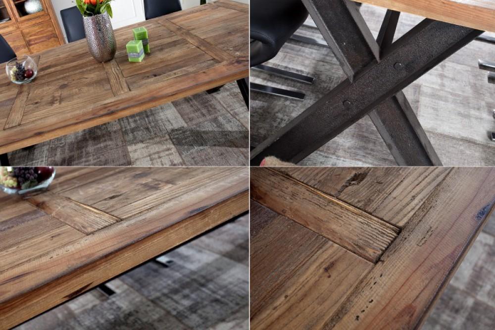Esstisch Metall-Gestell, Tisch Eiche-Massiv, Maße 200 x 100 cm
