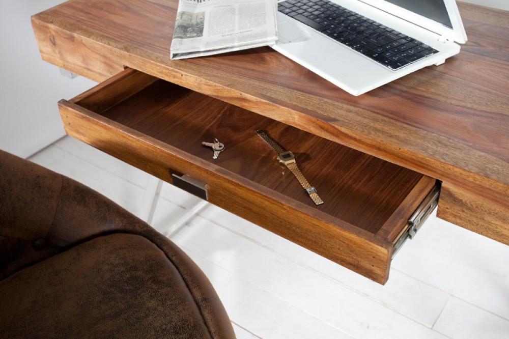 Tisch massivholz wandtisch verchromtes gestell for Schreibtisch breite 120