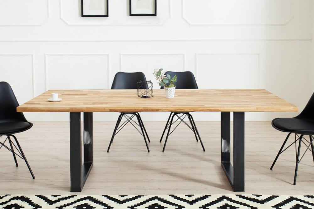 esstisch massivholz tisch industrie tischbeine metall. Black Bedroom Furniture Sets. Home Design Ideas
