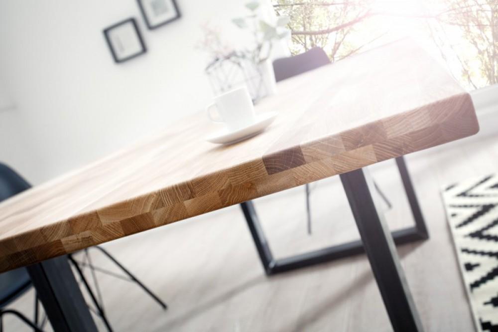 esstisch massivholz tisch industrie tischbeine metall grau ma e 200 x 100 cm. Black Bedroom Furniture Sets. Home Design Ideas