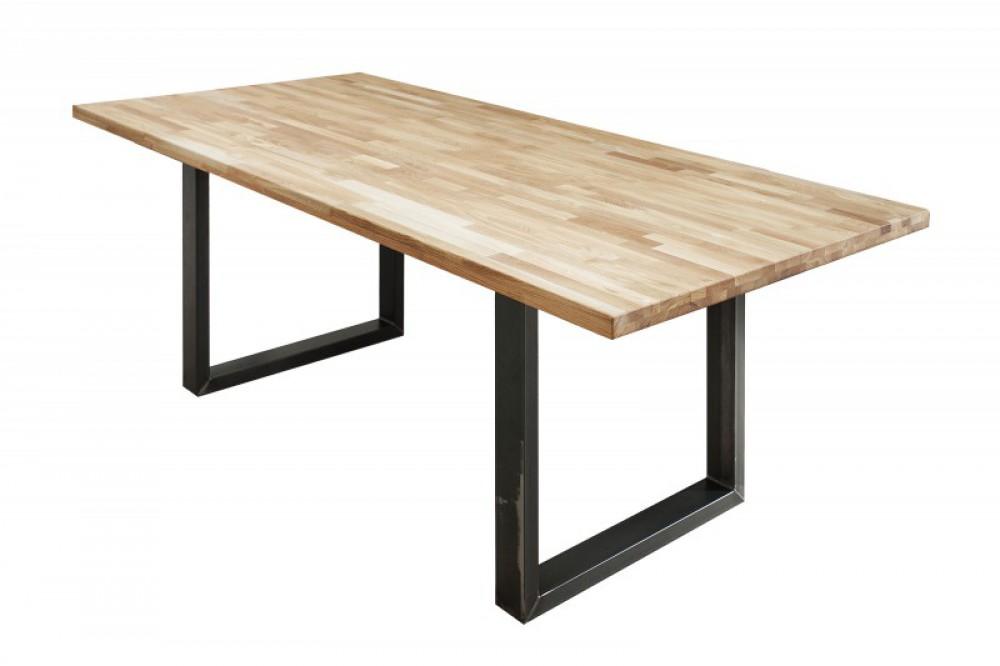 Esstisch massivholz tisch industrie tischbeine metall for Metall tischbeine