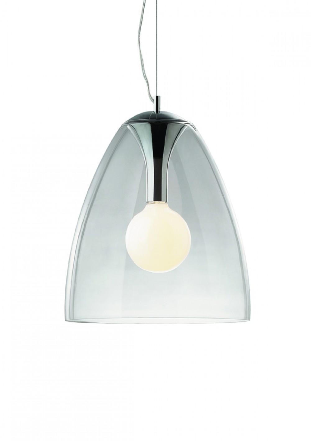 pendelleuchte glas transparent metall chrom modern. Black Bedroom Furniture Sets. Home Design Ideas