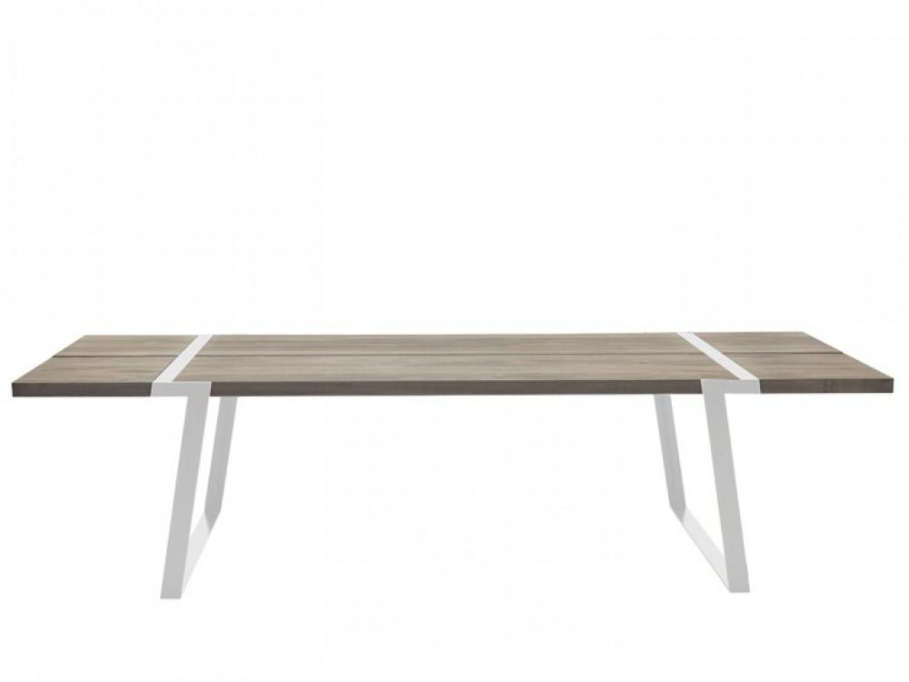 Esstisch wei eiche tischplatte tisch wei e tischbeine for Metall tisch