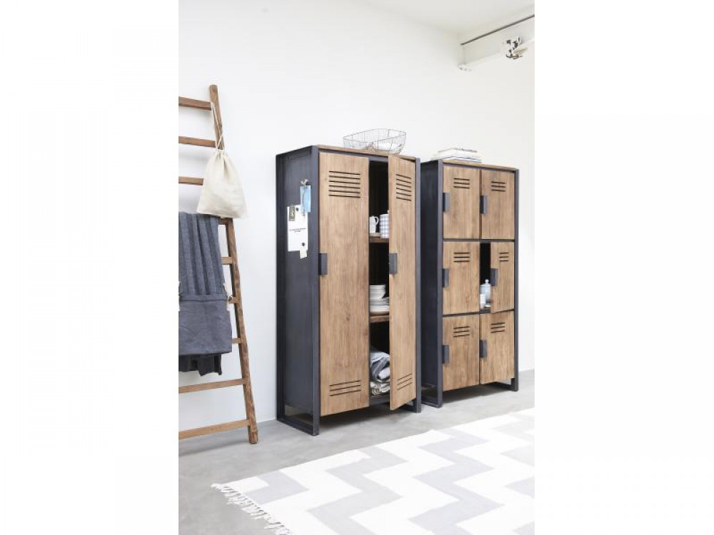 schrank im industriedesign kleiderschrank mit sechs t ren aus metall und holz breite 80 cm. Black Bedroom Furniture Sets. Home Design Ideas