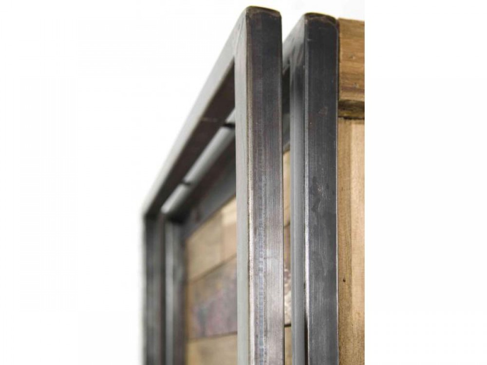 regal im industriedesign b cherregal aus metall und holz h he 164 cm. Black Bedroom Furniture Sets. Home Design Ideas