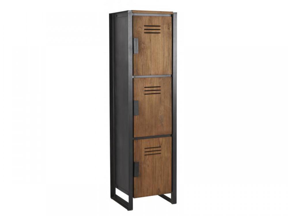 schrank im industriedesign kleiderschrank mit drei t ren aus metall und holz breite 45 cm. Black Bedroom Furniture Sets. Home Design Ideas