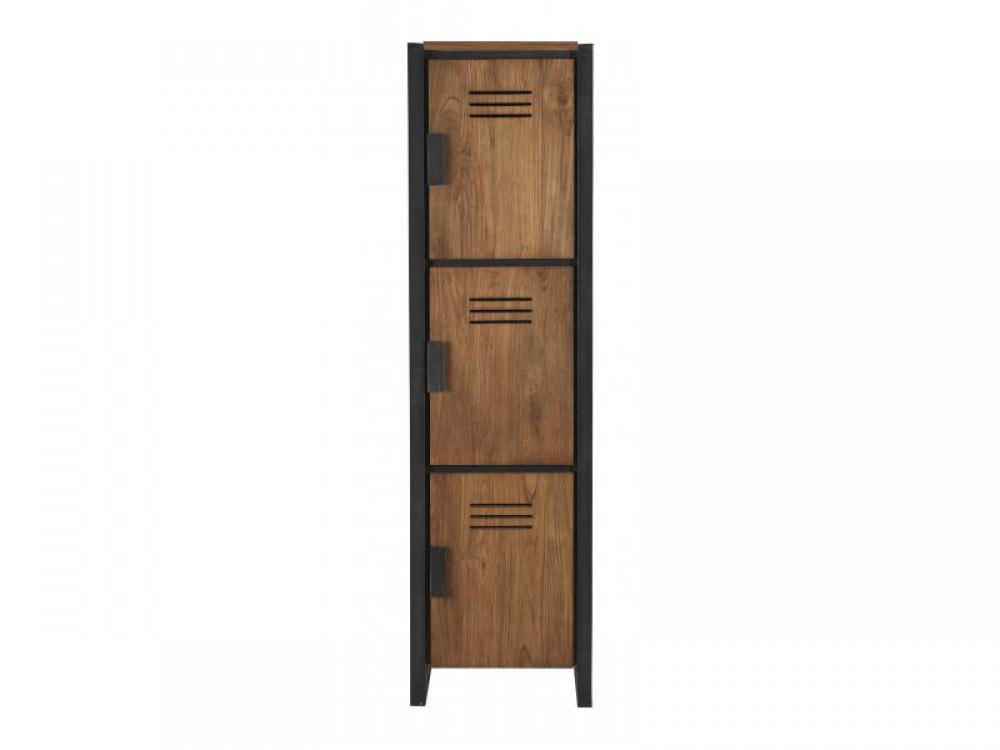 schrank im industriedesign kleiderschrank mit drei t ren aus metall und holz breite 45 cm. Black Bedroom Furniture Sets. Home Design Ideas