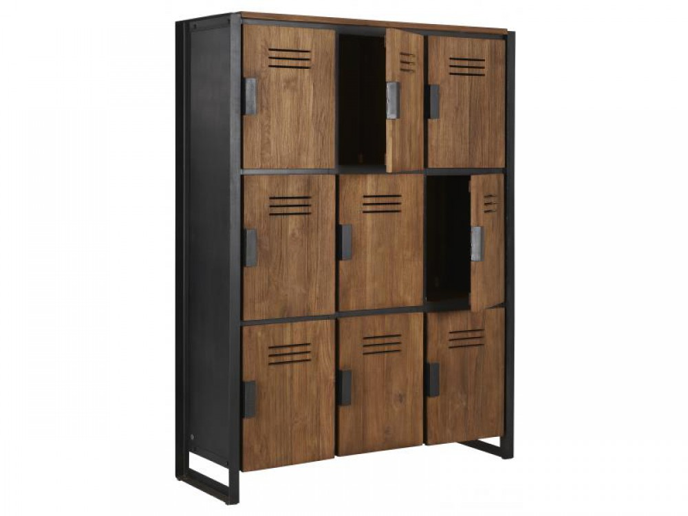 schrank im industriedesign kleiderschrank mit neun t ren aus metall und holz breite 120 cm. Black Bedroom Furniture Sets. Home Design Ideas